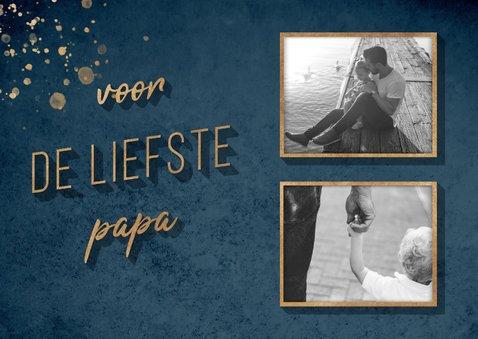 Vaderdagkaart 'voor de liefste papa' goud met foto's 2