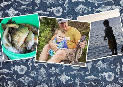 Vaderdagkaart voor vader of opa met vissen thema 2