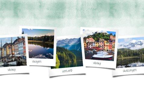 Vakantiekaart fotocollage polaroids met groene waterverf 2