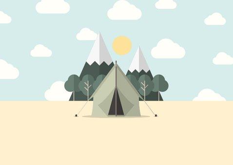 Vakantiekaart met foto en tent met bergen 2