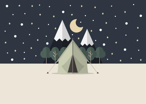 Vakantiekaart met foto en tent met sterrenhemel 2