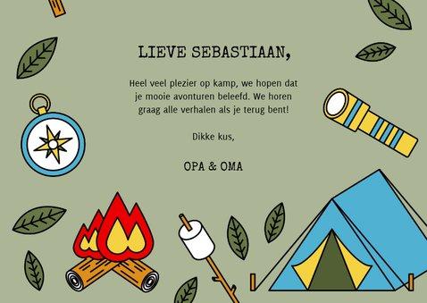 Vakantiekaart 'Veel plezier op kamp' met kampeerspullen 3