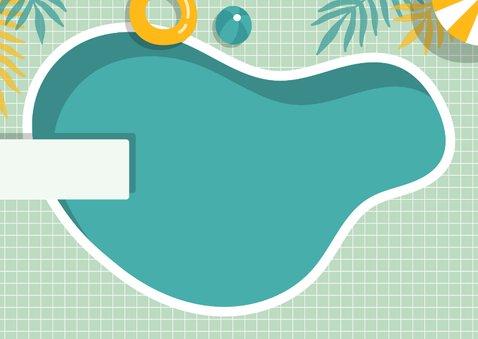 Vakantiekaart zwembad met foto en aanpasbare tekst 2