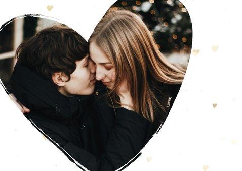 Valentijnskaart foto in hart groot met gouden hartjes 2