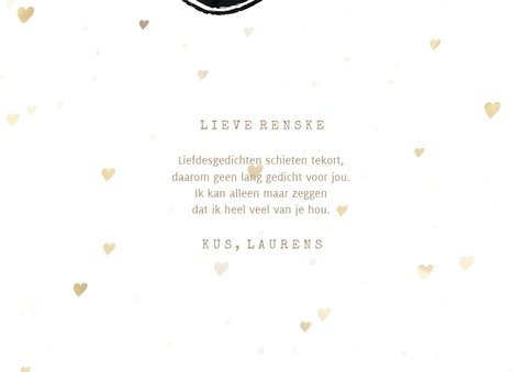 Valentijnskaart foto in hart groot met gouden hartjes 3