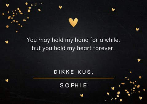 Valentijnskaart gouden confetti rechthoekig 3