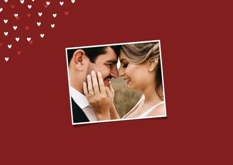 Valentijnskaart grote foto liggend met goudlook hartjeskader 2