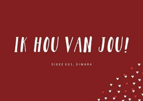 Valentijnskaart grote foto liggend met goudlook hartjeskader 3
