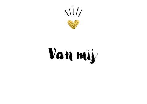Valentijnskaart kus gouden hartje 3
