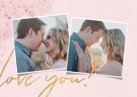"""Valentijnskaart met waterverf, hartjes """"love you"""" en foto 2"""