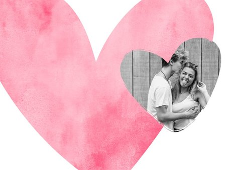 Valentijnskaart roze hart met foto in hartje 2