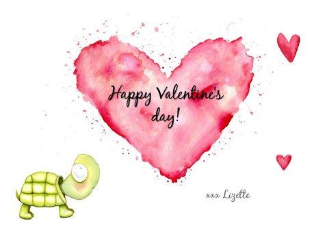 Valentijnskaart Schildpad en hartjes 3