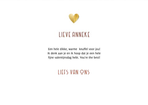 Valentijnskaart warme knuffel gouden hart en foto 3