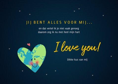 Valentijnskaart you are my World hart 3