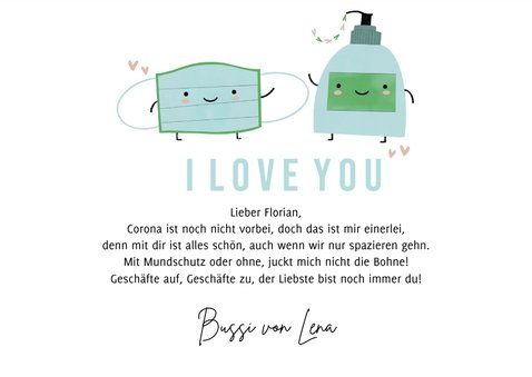Valentinskarte Mundschutz & Handseife 3