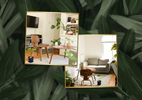 Verhuiskaart jungle bladeren met gouden accenten 2