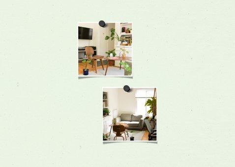 Verhuiskaart krijtbord huis 2 foto's met sleutelbos 2
