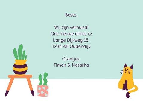 Verhuiskaart nieuwe woning cactus poes 3