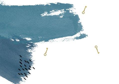 Verhuiskaart watercolor blauw strepen 2