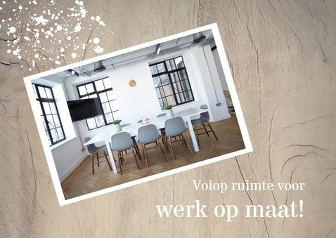 Verhuiskaart Zakelijk houtlook met foto 2