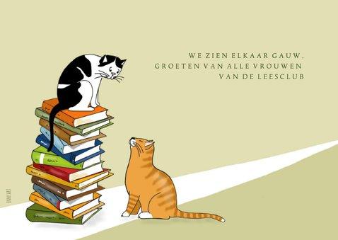 Verjaardag - lezende vrouw met katten 3