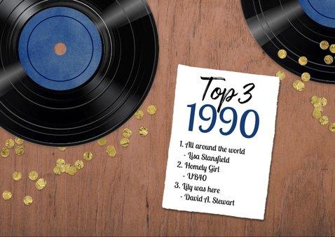 Verjaardagskaart 30 jaar retro muziek vinyl LP speler 2