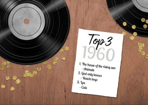 Verjaardagskaart 60 jaar retro muziek vinyl LP speler 2