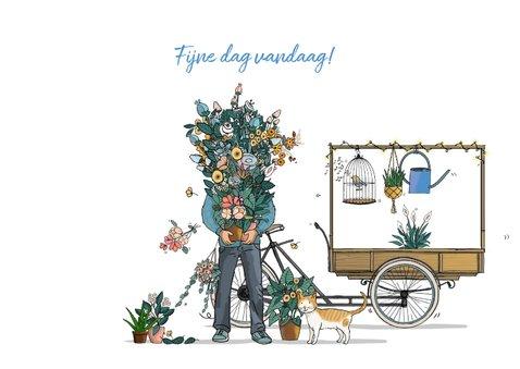 Verjaardagskaart bakfiets met bloemen 3
