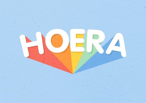Verjaardagskaart blauw 'HOERA' regenboog 2