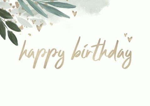 Verjaardagskaart botanisch met gouden hartjes 2