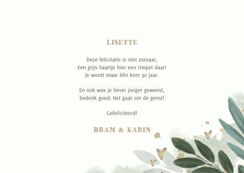 Verjaardagskaart botanisch met gouden hartjes 3