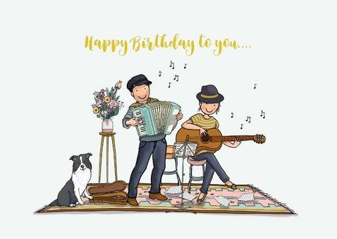 Verjaardagskaart Citroen eend met muzikanten 3