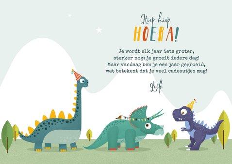 Verjaardagskaart dino triceratops vogel slinger hoera 3