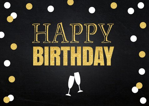 Verjaardagskaart foto gouden confetti 2