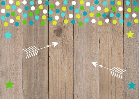 Verjaardagskaart foto jongen confetti hout 2