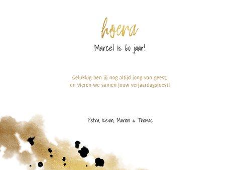 verjaardagskaart fotocollage 3 foto's met confetti en goud 3