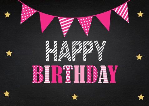 Verjaardagskaart fotocollage slinger roze krijtbord 2