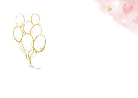 Verjaardagskaart gefeliciteerd met roze en gouden hartjes 2