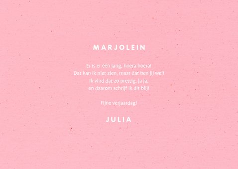 Verjaardagskaart 'HOERA' regenboog roze 3