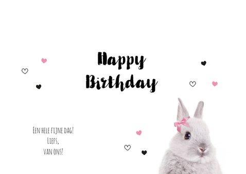 Verjaardagskaart - Konijntje met strikje - Hiep Hiep Hoera 3