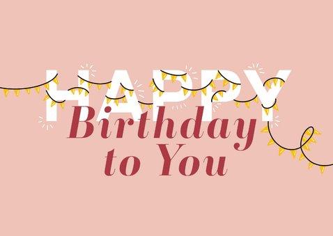 Verjaardagskaart letters met slingers 2