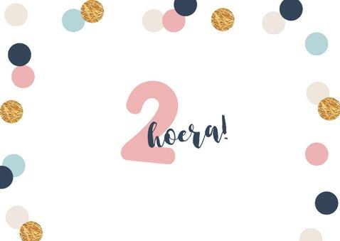verjaardagskaart meisje confetti goud vrolijk 2