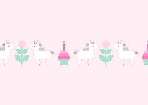 Verjaardagskaart met feestende unicorns en foto 2