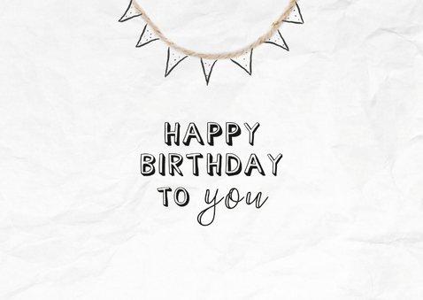 Verjaardagskaart met muzieknoten van happy birthday to you 2
