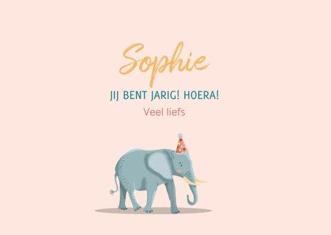 Verjaardagskaart olifant giraf en zebra meisje 3