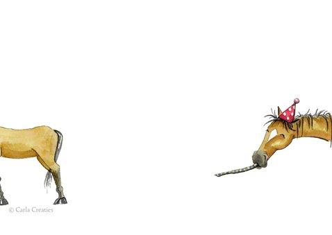Verjaardagskaart paarden met spandoek 2