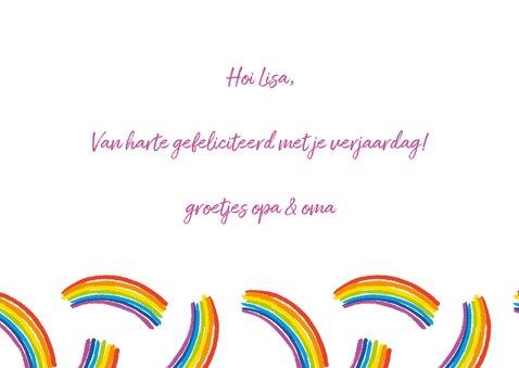 Verjaardagskaart regenbogen met foto 3