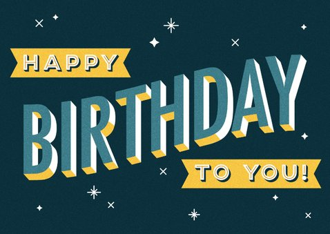 Verjaardagskaart retro typografie 'happy birthday to you!' 2