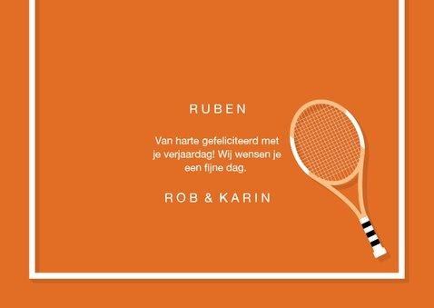 Verjaardagskaart sportieve felicitatie tennis 3