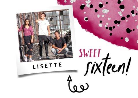 """Verjaardagskaart """"sweet sixteen' met waterverf en spetters 2"""